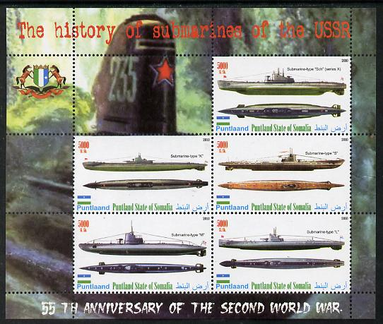 Puntland State of Somalia 2010 55th Anniversary of Second World War - Russian Submarines perf sheetlet containing 6 values unmounted mint