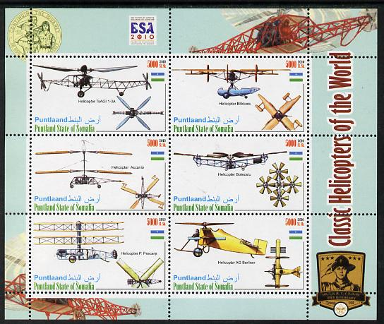 Puntland State of Somalia 2010 Helicopters of the World #2 perf sheetlet containing 6 values with Scout Badges unmounted mint