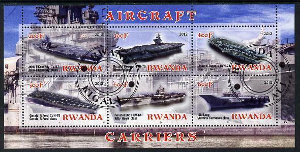 Rwanda 2012 Aircraft Carriers #1 perf sheetlet containing 6 values fine cto used