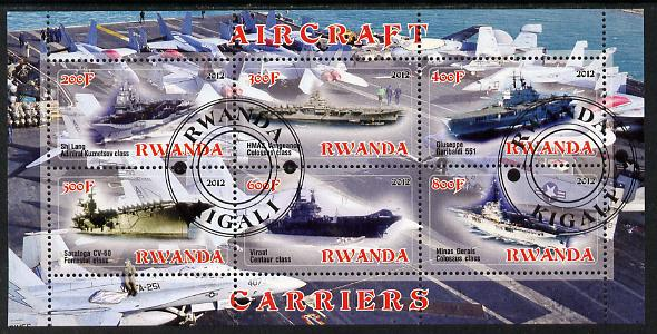 Rwanda 2012 Aircraft Carriers #2 perf sheetlet containing 6 values fine cto used