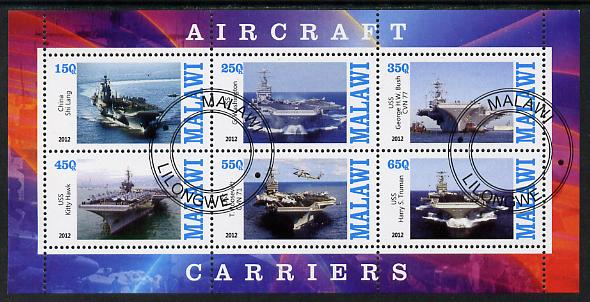 Malawi 2012 Aircraft Carriers #1 perf sheetlet containing 6 values fine cto used