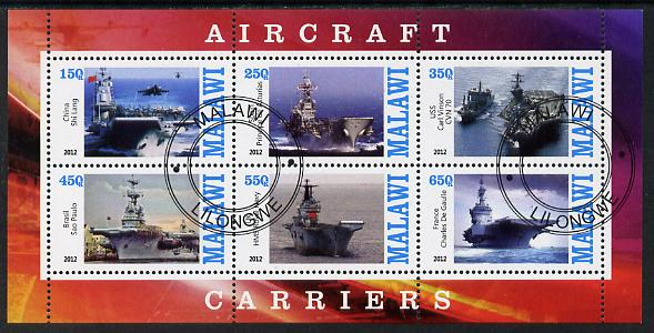 Malawi 2012 Aircraft Carriers #2 perf sheetlet containing 6 values fine cto used