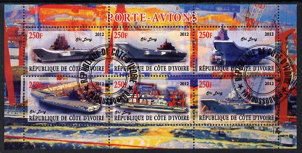 Ivory Coast 2012 Aircraft Carriers #1 perf sheetlet containing 6 values fine cto used