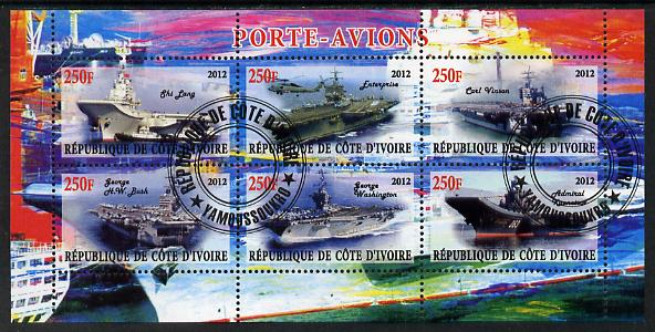 Ivory Coast 2012 Aircraft Carriers #2 perf sheetlet containing 6 values fine cto used
