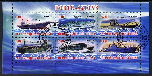 Chad 2012 Aircraft Carriers #2 perf sheetlet containing 6 values fine cto used