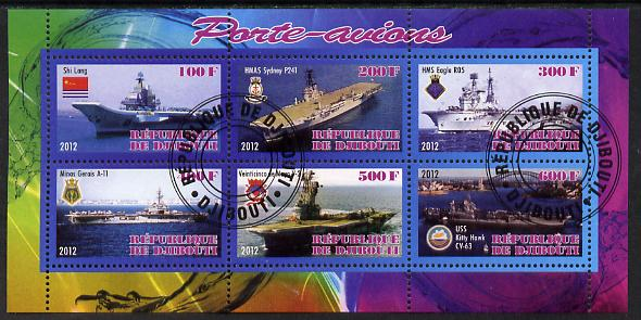Djibouti 2012 Aircraft Carriers #1 perf sheetlet containing 6 values fine cto used