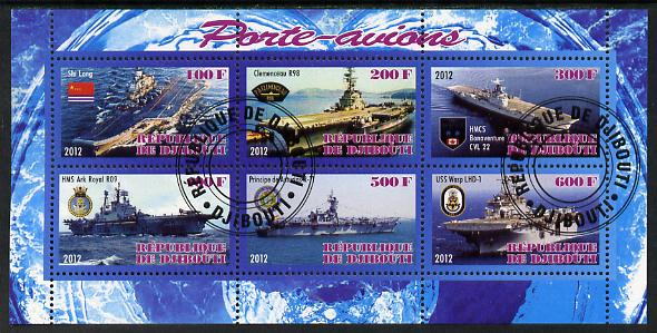 Djibouti 2012 Aircraft Carriers #2 perf sheetlet containing 6 values fine cto used