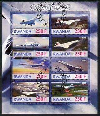 Rwanda 2012 Concorde perf sheetlet containing 8 values fine cto used