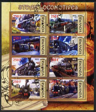 Rwanda 2012 Steam Locomotives perf sheetlet containing 8 values fine cto used