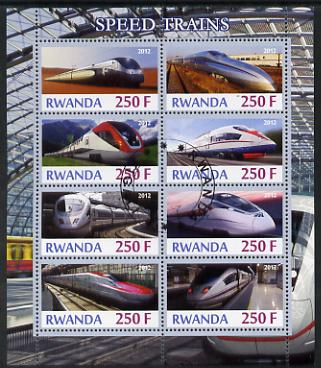 Rwanda 2012 High-Speed Trains perf sheetlet containing 8 values fine cto used