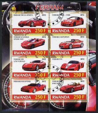 Rwanda 2012 Ferrari perf sheetlet containing 8 values fine cto used