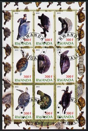 Rwanda 2012 Turtles perf sheetlet containing 9 values fine cto used, stamps on animals, stamps on reptiles, stamps on turtles
