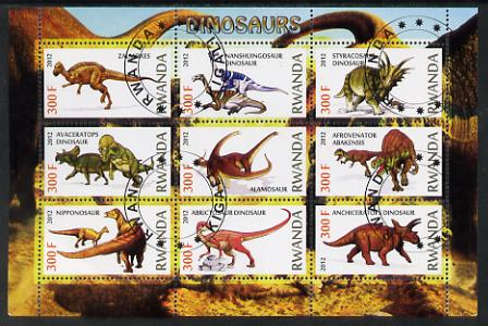 Rwanda 2012 Dinosaurs perf sheetlet containing 9 values fine cto used