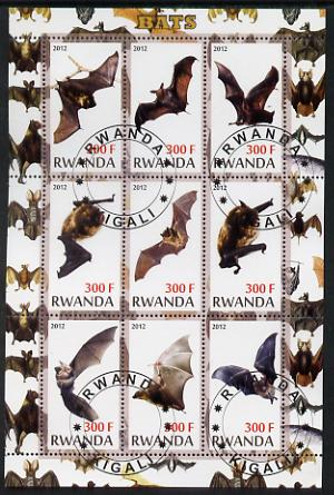 Rwanda 2012 Bats perf sheetlet containing 9 values fine cto used