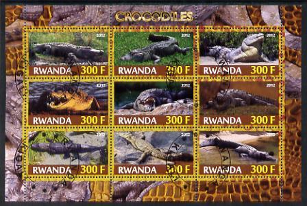 Rwanda 2012 Crocodiles perf sheetlet containing 9 values fine cto used