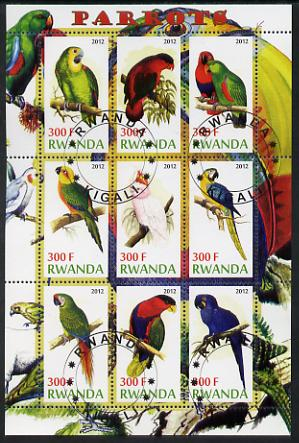 Rwanda 2012 Parrots perf sheetlet containing 9 values fine cto used