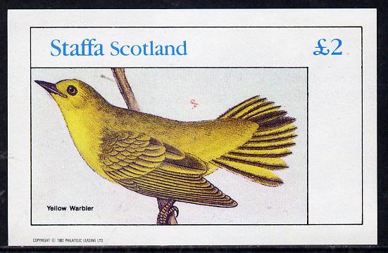 Staffa 1982 Audubon Birds #23 (Yellow Warbler) imperf deluxe sheet (�2 value) unmounted mint