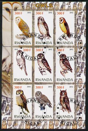 Rwanda 2012 Owls perf sheetlet containing 9 values fine cto used