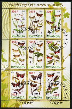 Rwanda 2012 Butterflies & Plants #1 perf sheetlet containing 9 values fine cto used