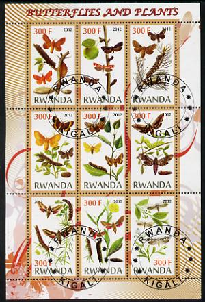Rwanda 2012 Butterflies & Plants #2 perf sheetlet containing 9 values fine cto used
