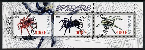 Rwanda 2012 Spiders perf sheetlet containing 3 values fine cto used