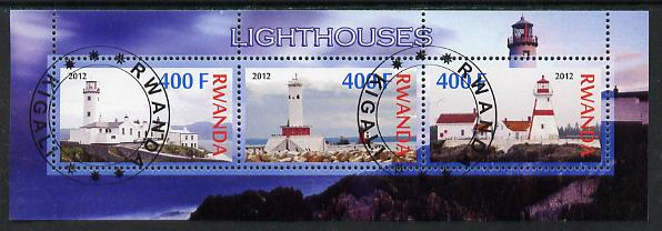 Rwanda 2012 Lighthouses perf sheetlet containing 3 values fine cto used