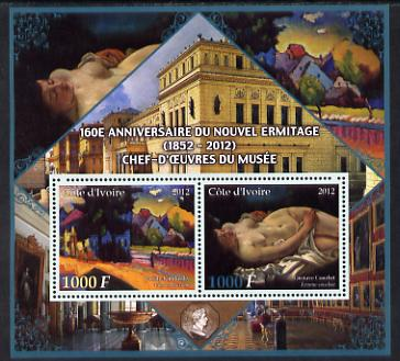 Ivory Coast 2012 160th Anniversary of Masterpieces in the New Hermitage Museum #1 perf sheetlet containing 2 values unmounted mint