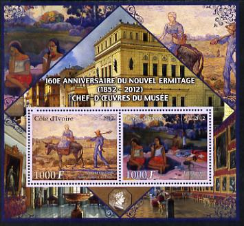 Ivory Coast 2012 160th Anniversary of Masterpieces in the New Hermitage Museum #3 perf sheetlet containing 2 values unmounted mint