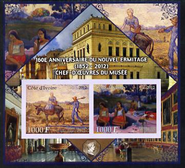 Ivory Coast 2012 160th Anniversary of Masterpieces in the New Hermitage Museum #3 imperf sheetlet containing 2 values unmounted mint