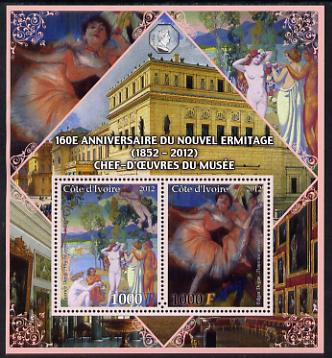 Ivory Coast 2012 160th Anniversary of Masterpieces in the New Hermitage Museum #4 perf sheetlet containing 2 values unmounted mint
