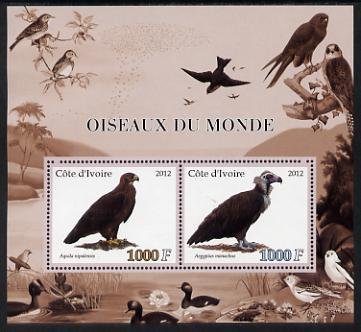 Ivory Coast 2012 Birds of the World #1 perf sheetlet containing 2 values unmounted mint