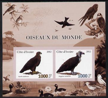 Ivory Coast 2012 Birds of the World #1 imperf sheetlet containing 2 values unmounted mint