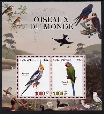 Ivory Coast 2012 Birds of the World #3 perf sheetlet containing 2 values unmounted mint
