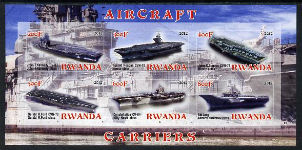 Rwanda 2012 Aircraft Carriers #1 imperf sheetlet containing 6 values unmounted mint