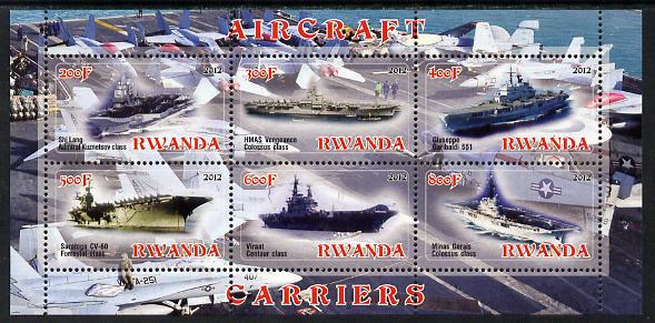 Rwanda 2012 Aircraft Carriers #2 perf sheetlet containing 6 values unmounted mint