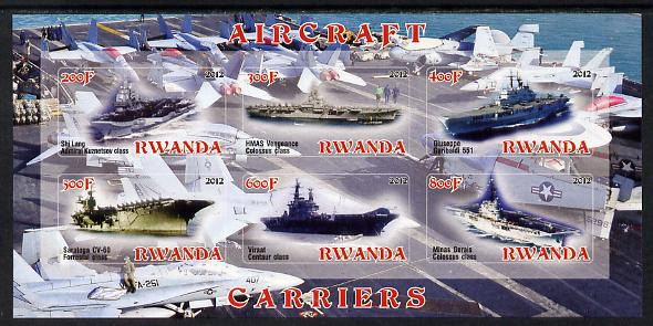 Rwanda 2012 Aircraft Carriers #2 imperf sheetlet containing 6 values unmounted mint
