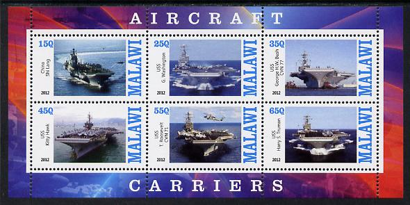 Malawi 2012 Aircraft Carriers #1 perf sheetlet containing 6 values unmounted mint