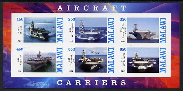 Malawi 2012 Aircraft Carriers #1 imperf sheetlet containing 6 values unmounted mint