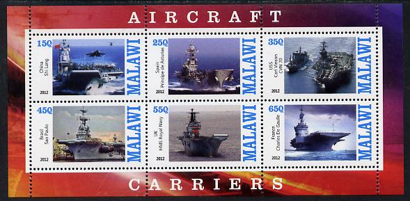 Malawi 2012 Aircraft Carriers #2 perf sheetlet containing 6 values unmounted mint