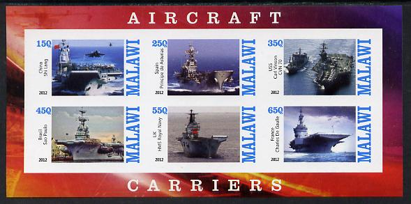 Malawi 2012 Aircraft Carriers #2 imperf sheetlet containing 6 values unmounted mint