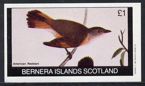 Bernera 1982 Birds #21 (Redstart) imperf souvenir sheet (�1 value) unmounted mint