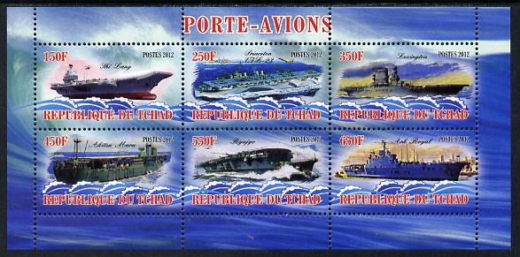 Chad 2012 Aircraft Carriers #2 perf sheetlet containing 6 values unmounted mint