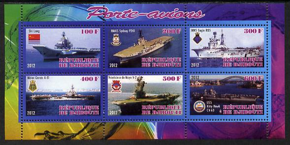 Djibouti 2012 Aircraft Carriers #1 perf sheetlet containing 6 values unmounted mint