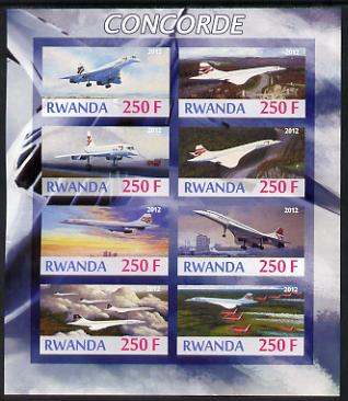 Rwanda 2012 Concorde imperf sheetlet containing 8 values unmounted mint
