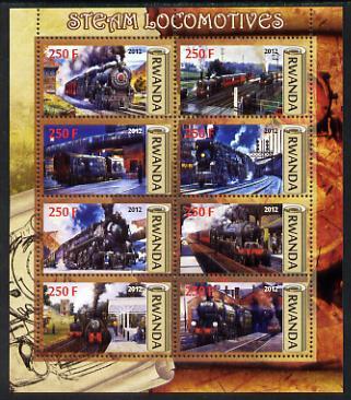 Rwanda 2012 Steam Locomotives perf sheetlet containing 8 values unmounted mint