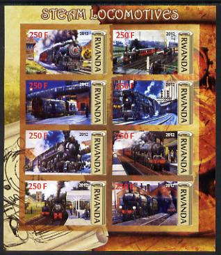 Rwanda 2012 Steam Locomotives imperf sheetlet containing 8 values unmounted mint