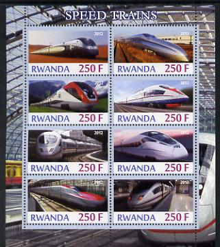 Rwanda 2012 High-Speed Trains perf sheetlet containing 8 values unmounted mint