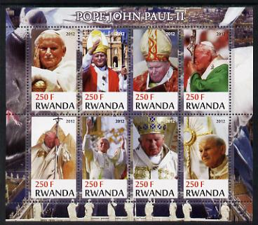 Rwanda 2012 Pope John Paul II perf sheetlet containing 8 values unmounted mint