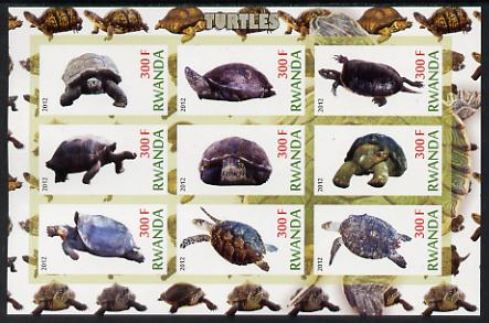 Rwanda 2012 Turtles imperf sheetlet containing 9 values unmounted mint