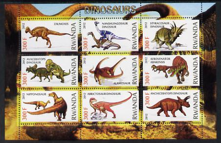 Rwanda 2012 Dinosaurs perf sheetlet containing 9 values unmounted mint